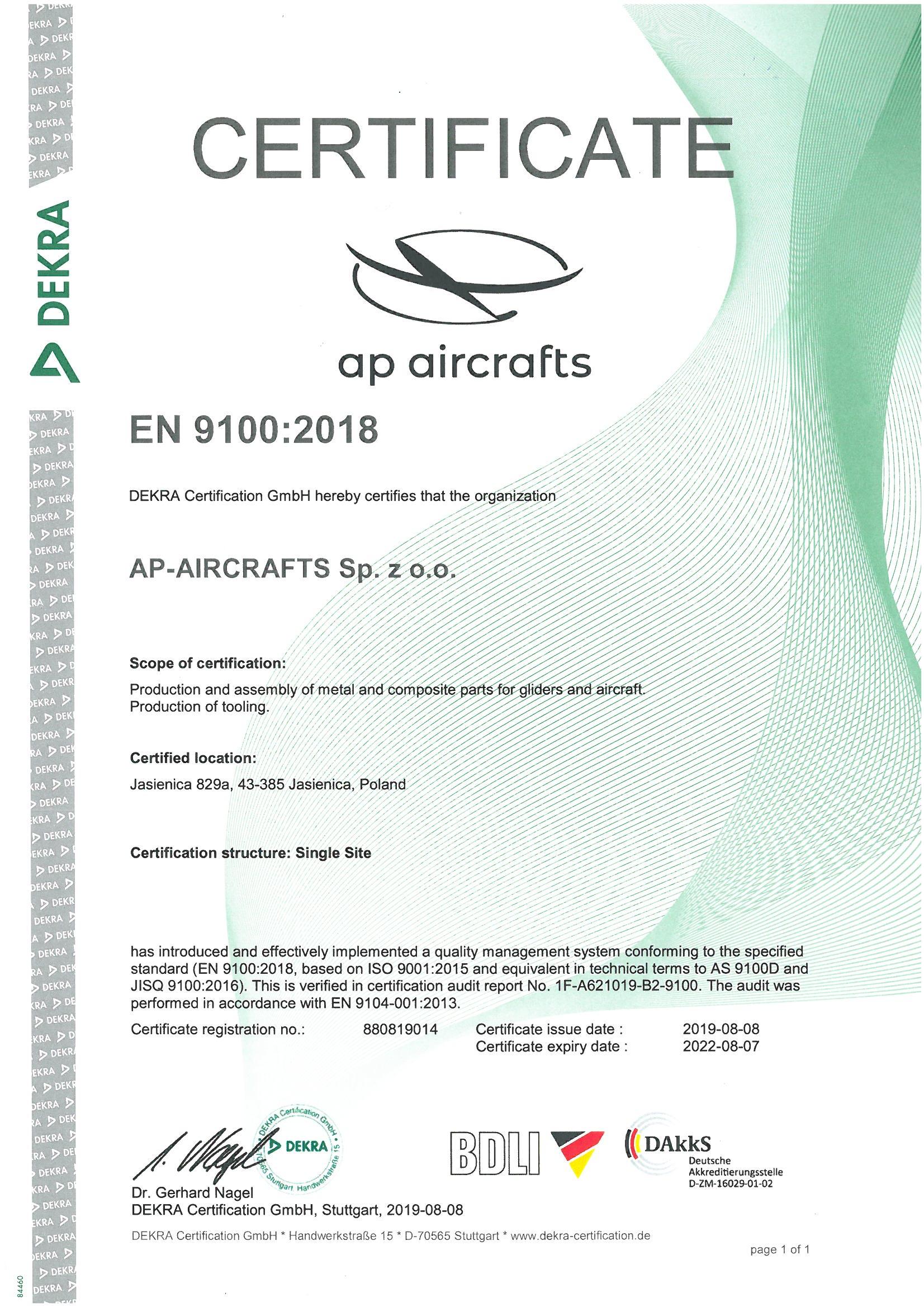 Certyfikat AS 9100 rev. D